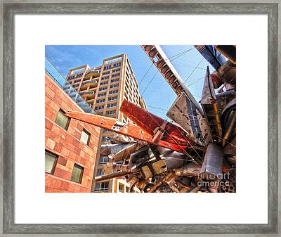 Airplane Wreckage Sculpture Outside Museum Of Contemporary Art - 02 Framed Print by Gregory Dyer