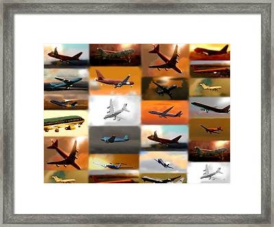 Airplanes Collage Framed Print by Marcello Cicchini