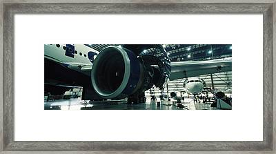 Airplanes In A Hangar, Mirabel Airport Framed Print
