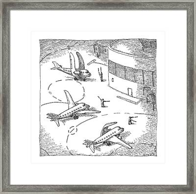 Airplanes On A Runway Match Their Wings Framed Print