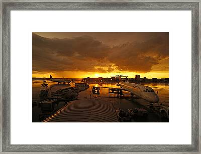 Airport After The Rain Framed Print by Chikako Hashimoto Lichnowsky