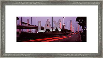 Airport At Dusk, Los Angeles Framed Print by Panoramic Images