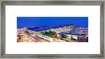 Airport At Night, Stuttgart Airport Framed Print by Panoramic Images