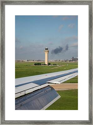 Airport Control Tower And Airplane Wing Framed Print by Jim West