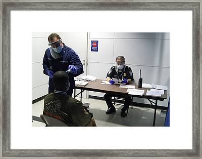 Airport Ebola Screening Framed Print by Us Border Control