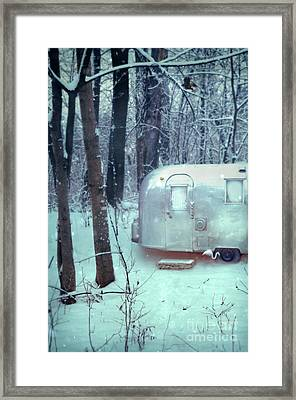 Airstream Trailer In Snowy Woods Framed Print