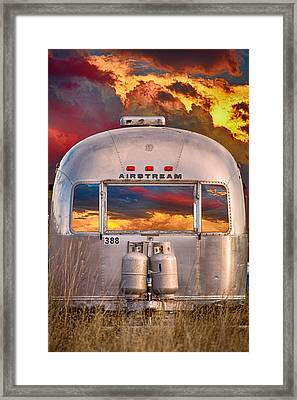 Airstream Travel Trailer Camping Sunset Window View Framed Print