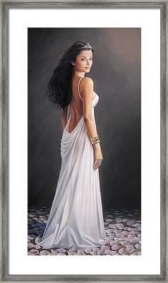 Aishwarya Rai - Oil On Canvas Framed Print by Mike Roberts
