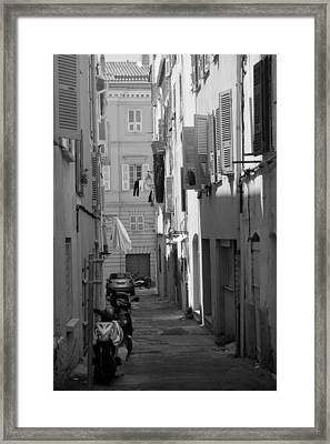 Framed Print featuring the photograph Ajaccio Back Alley by Brad Brizek