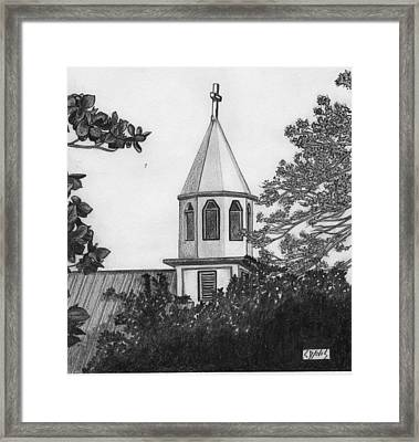 Framed Print featuring the drawing Ajeltake Steeple by Lew Davis