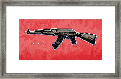 Ak - 47 Gun Pop Art Drawin Poster Framed Print by Kim Wang