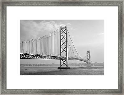 Akashi Kaikyo Bridge Monochrome Framed Print