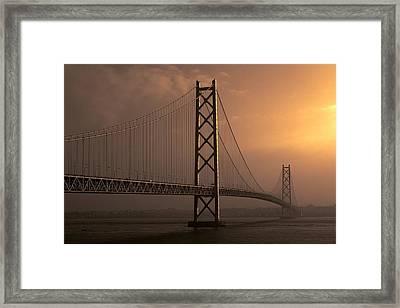 Akashi Kaikyo Bridge Osaka Bay Framed Print