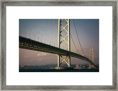 Akashi Kaikyo Bridge Sunset Framed Print by Daniel Hagerman
