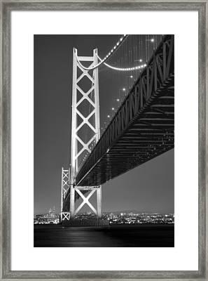Akashi Kaikyo Super Bridge At Night Framed Print
