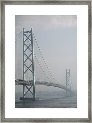 Akashi Kaikyo Suspension Bridge Of Japan Framed Print by Daniel Hagerman