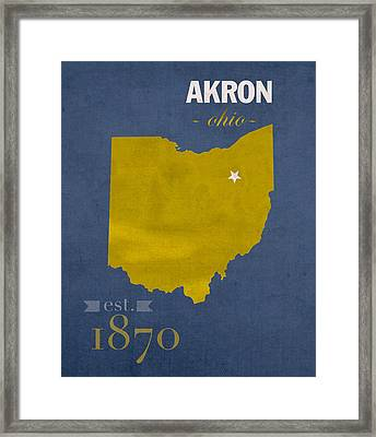 Akron Zips Ohio College Town State Map Poster Series No 007 Framed Print