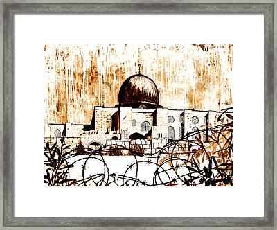 Al-asqa Mosque Palsetine- Mustard Framed Print by Salwa  Najm
