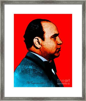Al Capone C28169 - Red - Painterly - Text Framed Print by Wingsdomain Art and Photography