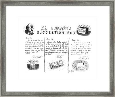 Al D'amato's Suggestion Box Framed Print by Roz Chast