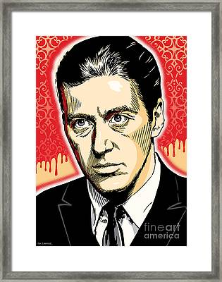 Al Pacino As Michael Corleone Pop Art Framed Print by Jim Zahniser
