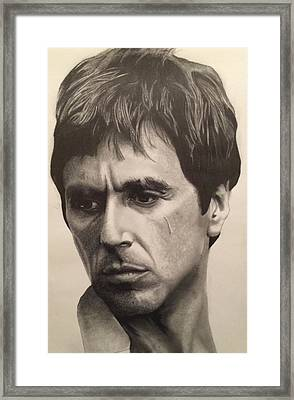 Al Pacino - Scarface Framed Print by Daniel Naizghi