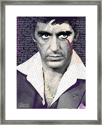 Al Pacino Scarface Framed Print by Tony Rubino