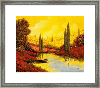 Al Tramonto Sul Torrente Framed Print by Guido Borelli