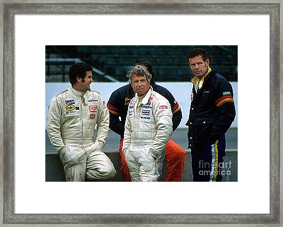 Al Unser Sr. Gordon Johncock And Bobby Unser Together At Indy Framed Print