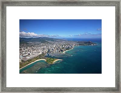 Ala Moana & Waikiki, Oahu, Hawaii Framed Print by Douglas Peebles
