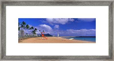 Ala Moana Beach Honolulu Hi Framed Print by Panoramic Images