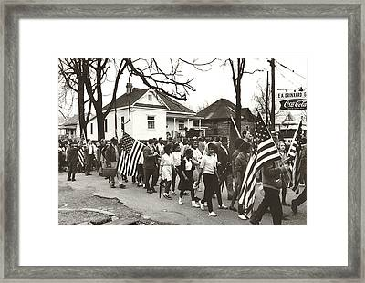 Alabama Civil Rights March Framed Print by Peter Pettus