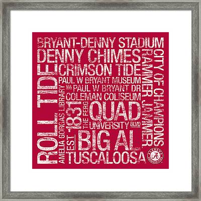 Alabama College Colors Subway Art Framed Print