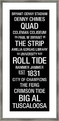 Alabama College Town Wall Art Framed Print