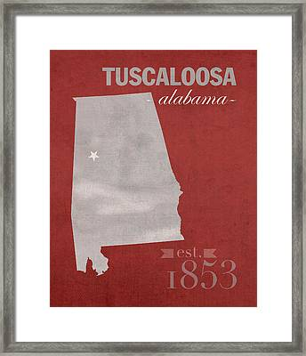 Alabama Crimson Tide Tuscaloosa College Town State Map Poster Series No 008 Framed Print