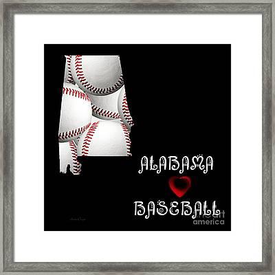 Alabama Loves Baseball Framed Print by Andee Design