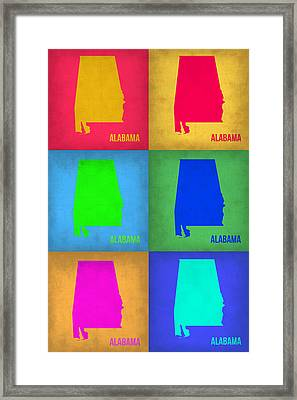 Alabama Pop Art Map 1 Framed Print