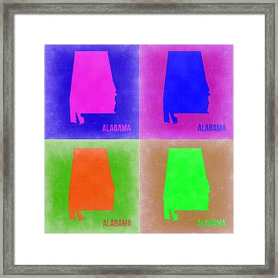 Alabama Pop Art Map 2 Framed Print