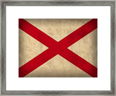 Alabama State Flag Art On Worn Canvas Framed Print