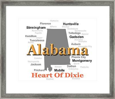 Alabama State Pride Map Silhouette  Framed Print by Keith Webber Jr