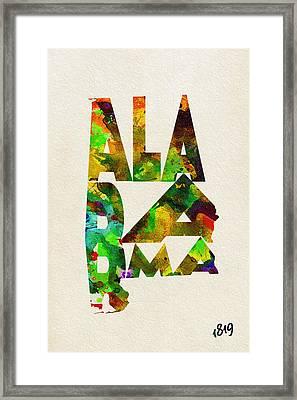 Alabama Typographic Watercolor Map Framed Print by Ayse Deniz
