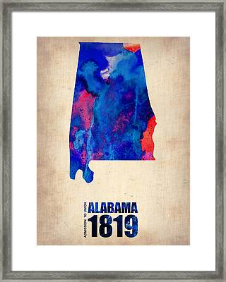 Alabama Watercolor Map Framed Print