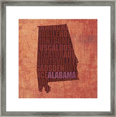 Alabama Word Art State Map On Canvas Framed Print by Design Turnpike