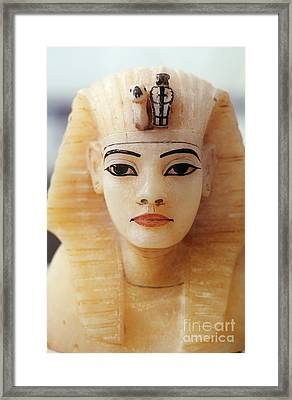 Alabaster Head Of King Tutankhamun Framed Print by John G. Ross