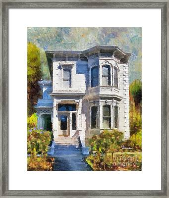 Alameda 1880 - Queen Anne  Framed Print by Linda Weinstock