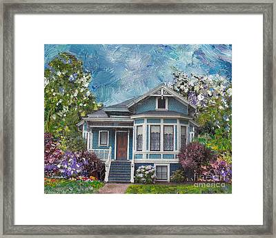 Alameda 1884 - Eastlake Cottage Framed Print by Linda Weinstock