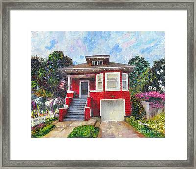 Colonial Revival High Basement Cottage 1907  Framed Print by Linda Weinstock