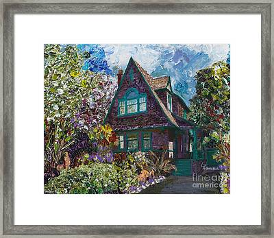 Alameda 1907 Traditional Pitched Gable - Colonial Revival Framed Print by Linda Weinstock