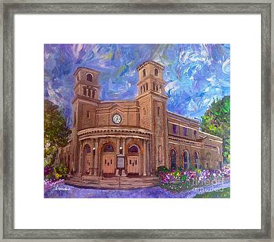 Alameda 1909  Twin Towers Church - Italian Renaissance  Framed Print by Linda Weinstock