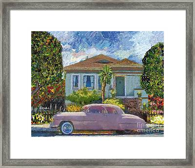 Alameda 1908 House 1950 Pink Dodge Framed Print by Linda Weinstock